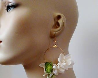 Flower Earrings, Long Earrings, Gifts for her, Bridal Jewelry, Boho Jewelry, Statement Earrings, Gifts Under 20