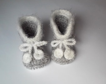 gray crocheted baby bootees, child crochet shoes, newborn booties, 0-12 month / 72