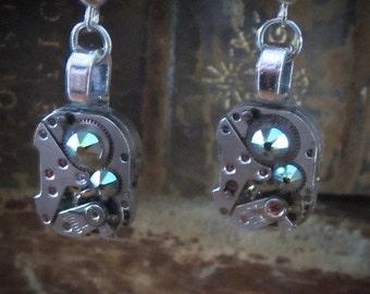 Steampunk watch earrings - Almost Time  - Steampunk Earrings - A/B greens  - Repurposed art