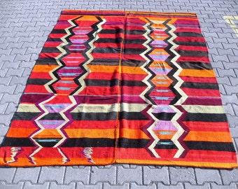 kilimrug free shipping VINTAGE TURKİSH antalya  kilim Anatolian handwoven  rug decorative kilim - SİZE : 79'' X 110'' ( 198 cm X 275 cm)