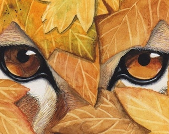 ACEO Reproduction Lion and Leaves