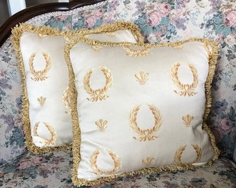 Ivory Throw Pillows with Gold Fringe - Vintage Set of 2 Square Couch Pillows - Mid Century Decor