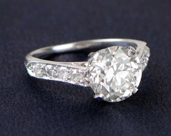2.00ct Old European Cut Diamond Engagement Ring. Platinum and Diamond Mounting
