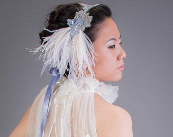 Art Nouveau Flapper Headband Ivory Ostrich Feather Headband Pale Blue and Silver