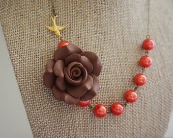 Bridesmaid Gift Bridesmaid Jewelry Brown Necklace Coral Necklace Flower Necklace Statement Necklace Wedding Jewelry Bridesmaid Necklace Gift