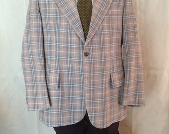 1970s Combo Suit - Disco - Jacket Slacks and Tie - Patterned Plaid Jacket - Brown Pants - Polka Dot Tie - Earth Tones - Hipster - Casual