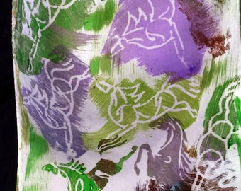 Horse Silk Scarf, Patches of Green, Purple, Turquoise Galloping Horses, Unique Design,Hand Carved by Artist, Equine Art, OOAK, USA, BP28E