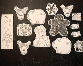 Christmas Sticker Variety Pack - Reindeer, Polar Bear, Gingerbread, Present and more!