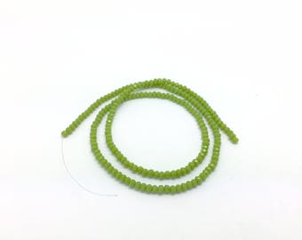200 donuts faceted 3mm Apple green glass beads for jewelry designs