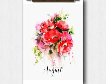 Watercolor Floral, AUGUST Month, Calendar art, Pregnancy Announcement, Baby shower,Bridal Shower, Perpetual Month Calendar, Wedding keepsake