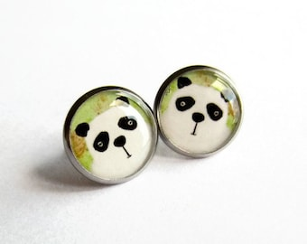 Cute Panda Earrings - Panda Stud Earrings - Panda Bear Studs -  - Panda Jewelry - Gift for Her - Hypoallergenic - Surgical Steel