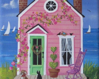 Little Rose Cottage Folk Art Print