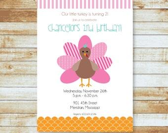 Personalized Birthday Invitation / Turkey / Thanksgiving / Free Shipping