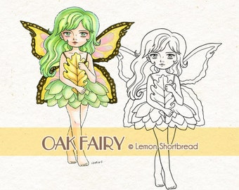 Digital Stamp Oak Leaf Fairy, Fantasy Autumn Fall Digi Download, Graphic Anime, Coloring Page, Nature, Scrapbooking Supplies, Clip Art