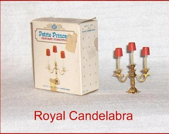 SPECIAL SALE   Three  Branch Royal Candelabra  Petite Princess  Dollhouse Furniture with Display Box