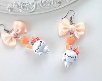 Orange white bunny rabbit earrings fairy kei