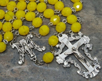 Czech Glass Rosary in Yellow Opal, 5 Decade Rosary, Catholic Rosary, Mary Rosary, Our Lady of Grace, Large Size Rosary