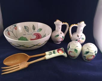 7 Piece Vintage Made in Japan Peach Salad Set