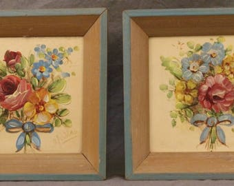 2 Vintage Original Paintings Country Floral