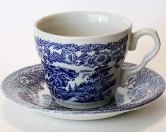 EIT England Cup & Saucer Blue White Transferware Countryside Rural Vintage