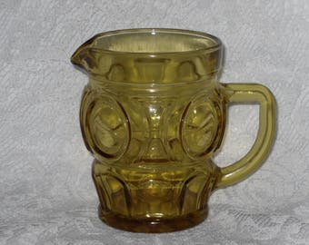 Amber Cream Pitcher Coffee Creamer Gold Glass Syrup Wheaton Bullseye Vintage
