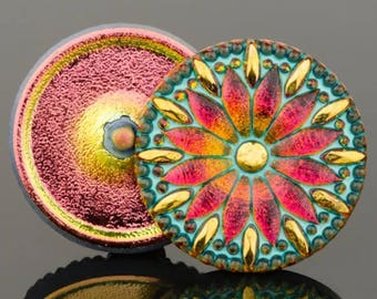 Czech Glass Button - Round Daisy Button - Golden Pink with Turquoise Wash -  32mm