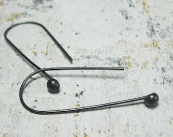 The Dots - Sterling Silver Earrings - Black Earrings - Gift for Her -  Minimalist Earrings - Dangle Earrings