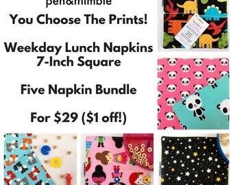 Kids Lunch Napkins (Five Napkin Set, 7 Inch Square Napkins, Cloth Napkins Bulk, Small Napkins, Cloth Napkins Kids, Washable Napkins)