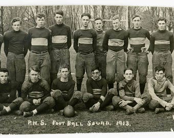vintage snapshot 1913 P.H.S. Football High School Boys Masters rppc