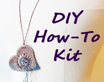 DIY Kit, How-To Dreamcatcher Necklace, Textile Weaving, Do It Yourself: Woven Jewelry, DIY, Valentine, Victorian, Looping Knotless Netting