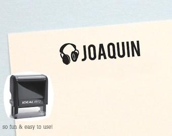 Music Headphone Personalized Name Stamp, Self Inking Kids Stamp, Custom Name Stamp, Boy Birthday Gift - HK202