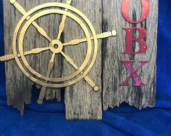 OBX Ship's Wheel Wall Sign | Reclaimed wood with ship's wheel and OBX in Steel | Rustic Nautical Sign