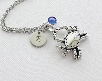 Crab Necklace Nautical Animal Beach Wedding Sea Ocean Summer Gift Jewelry Swarovski Birthstone Silver Personalized Monogram Hand Stamped
