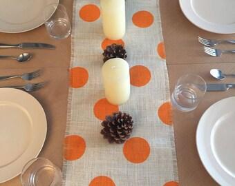 """12"""" Wide Thanksgiving Orange Burlap Table Runner, Off White Burlap Table Runner, Thanksgiving Table Runner, Thanksgiving Decor"""