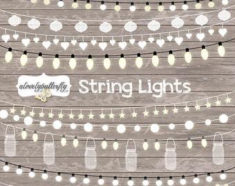 String Lights Clipart, wedding invitation, Clipart lights, Party Lights, Wedding, Fairy Lights Clipart, Lampion , String Lights Clipart,