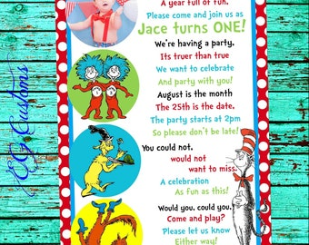 Dr Seuss Invitation, One Fish Two Fish Birthday, Cat in the Hat Birthday, Dr Seuss Invite, First Birthday, Dr Seuss, Birthday Invitation