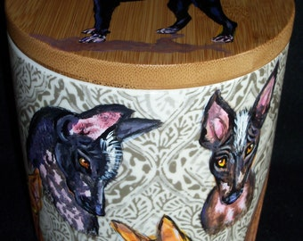 Xolo CANISTER Jar with Lid hand painted Mexican Peruvian hairless dog art painting 11 dogs heads seal cookie container Inca Orchid DelRay