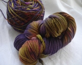 Aubergine Loves Olive Worsted Hand Painted Wool Yarn