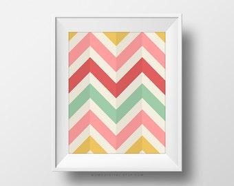 SALE -  Multicolored Chevron, Chevron Pattern, Chevron Background, Nursery Print, Yellow Pink Red Teal, Modern Print, Poster