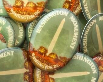 125 Washington Monument Souvenir Buttons, Vintage Patriot Collectible, 28x22mm Large Resin Cabochon, In Quantity Closeout Destash Lot