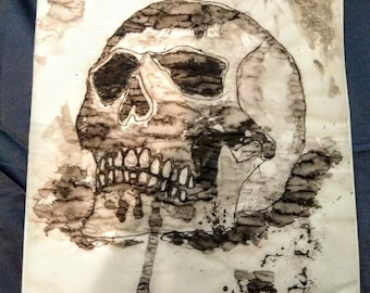 Scary skull ink watercolor painting. Original work.