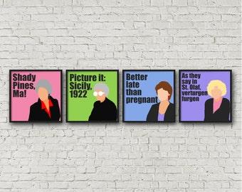 ALL 4 PRINTS digital download, Golden Girls Prints, Gift for Her, Christmas Gift, Printable Art, Dorothy Zbornak, Rose, Sophia, Blanche, TV