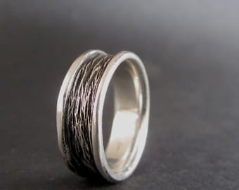 Woodsy Silver Band - Hand Carved Silver Band