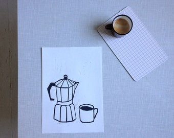 black and white woodcut - coffee breakfast