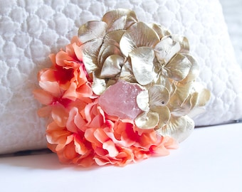 RESERVED - Gold Rose Quartz Hair Flower