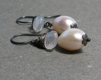 White Baroque Pearl Earrings Moonstone Oxidized Sterling Silver June Birthstone Bride Earrings