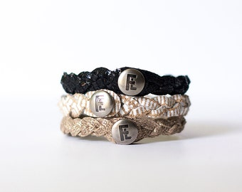 Braided Leather Bracelet Trio / New York City