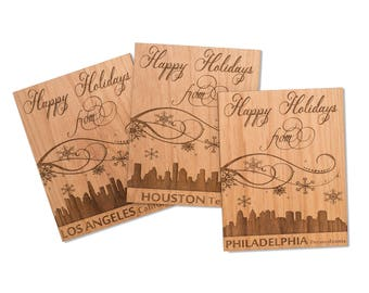 City Skyline Holiday Mini Wood Card. Philadelphia City Skyline Christmas Card.