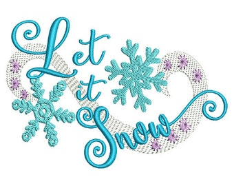 Let it Snow Embroidery Design- Instant Download