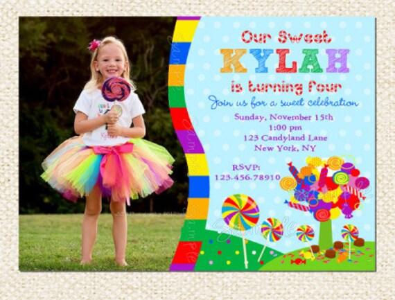 Candyland Birthday Invitations